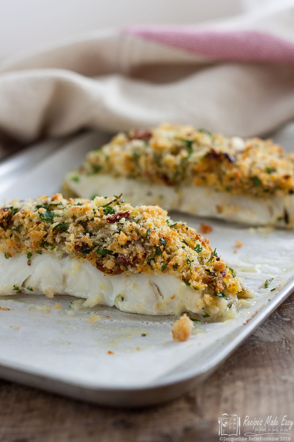 cod fillet topped with a crispy herb and sundried tomato crust. Baked ...