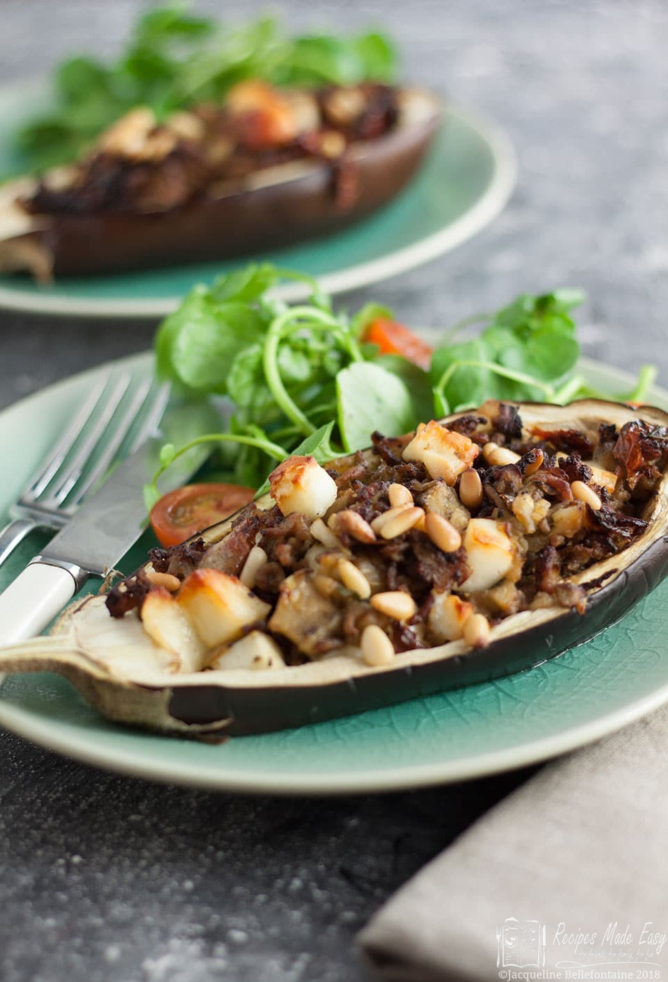 stuffed aubergine with lamb and haloumi a simple and quick to prepare dish.