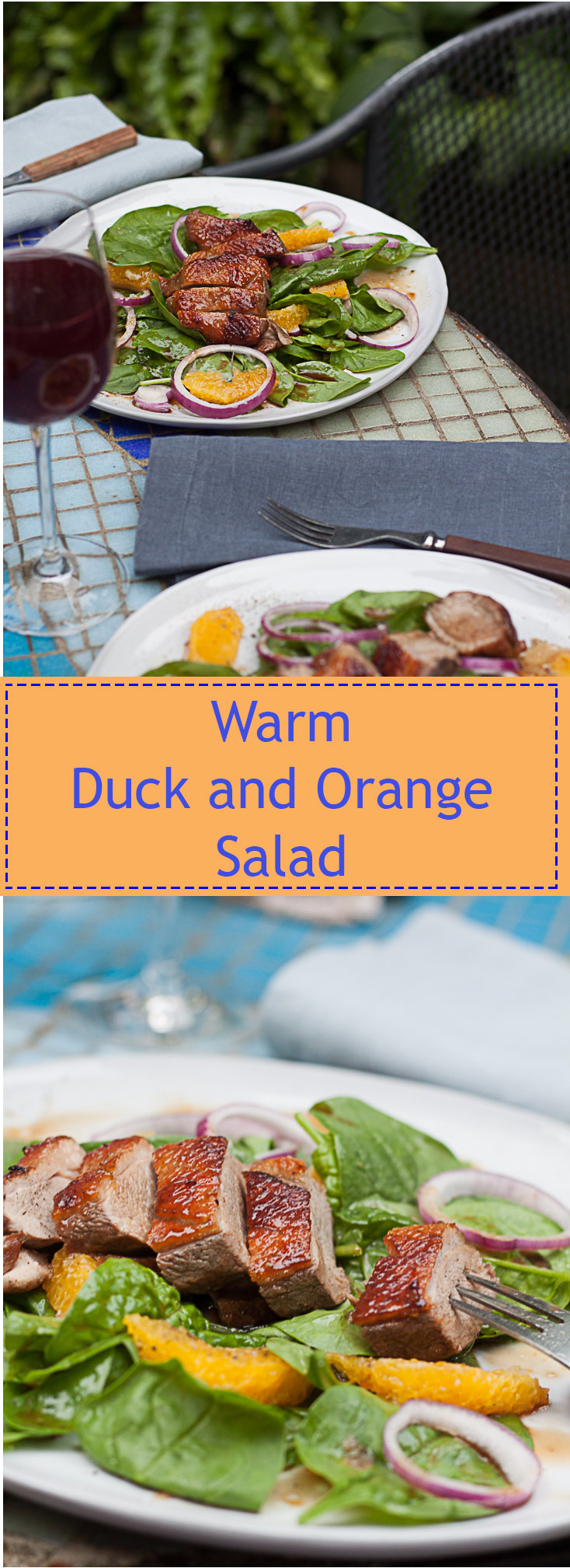 Warm duck and orange salad.