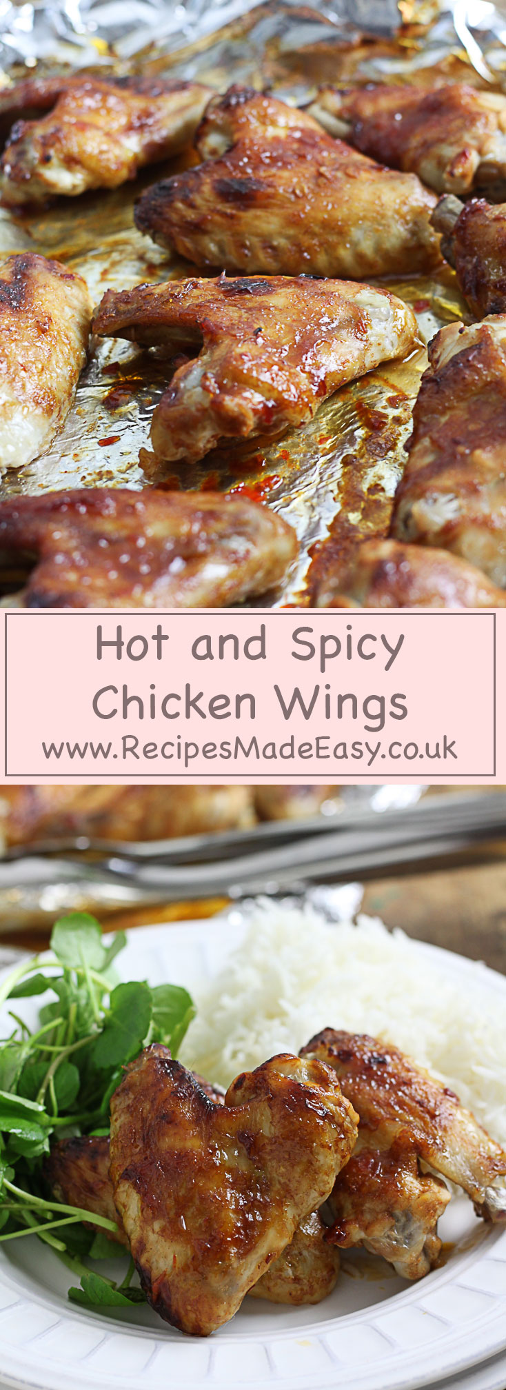 hot and spicy chicken wings baked in a simple spicy glaze. www.recipesmadeeasy.co.uk