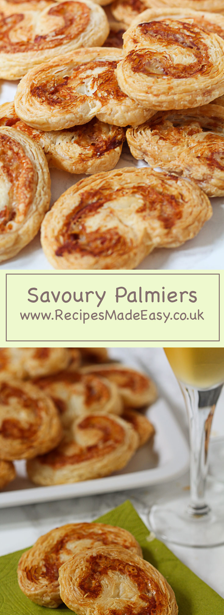 Savour Palmiers www.recipesmadeeasy.co.uk puff pastry filled with pancetta and gruyere cheese