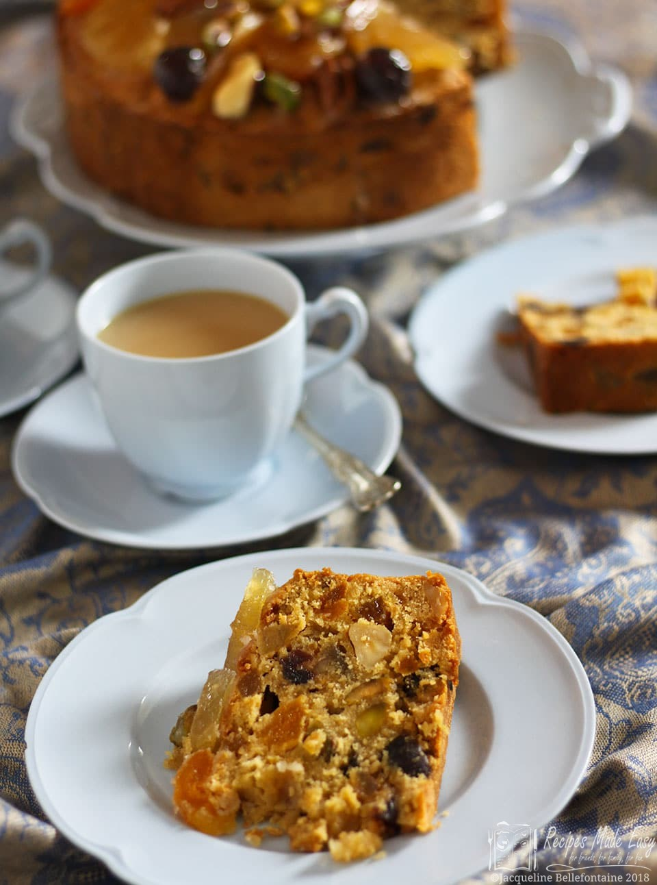 Slice of special fruit and nut cake. Recipes made easy.