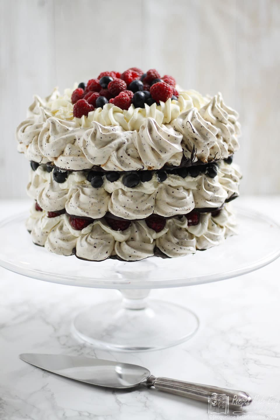 Recipes Made Easy - Chocolate Meringue Crown- layers of crisp chocolate meringue filled with fruit and cream