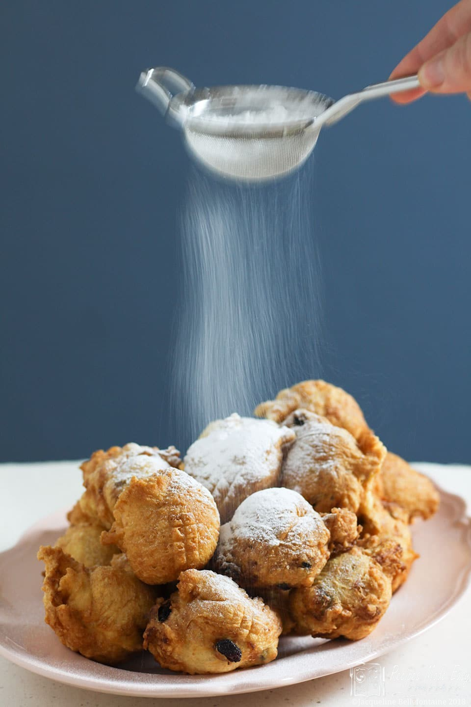 Recipes, Made Easy - Oliebollen (Dutch doughnuts) -delicious balls of dough deep fried and served dusted with icing sugar/