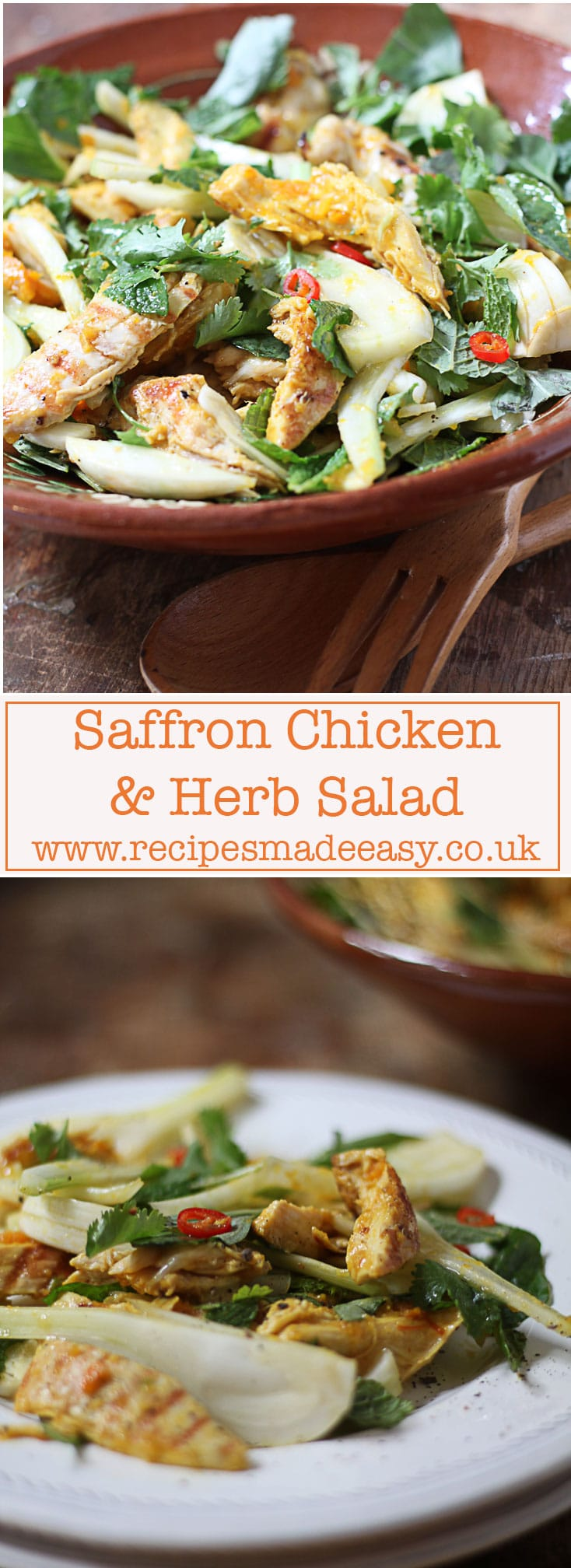 Saffron Chicken and herb salad. Recipes Made Easy