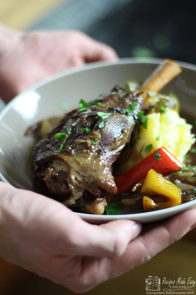 recipes made easy - slow cooked lamb shanks with onions and peppers