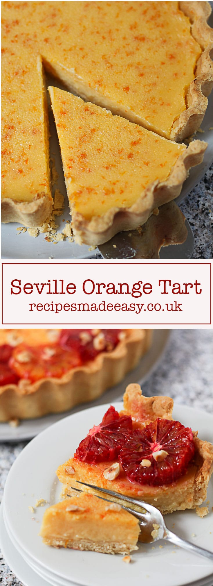 Recipes Made Easy Seville Orange Tart. A creamy orange filling, baked in a sweet hazelnut pastry case and decorated with blood oranges and hazelnuts.