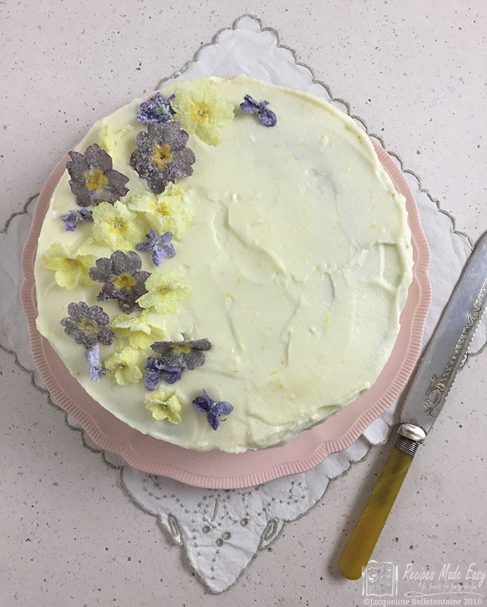 pistachio and lemon cake by Recipes Made Easy - shown whole from above