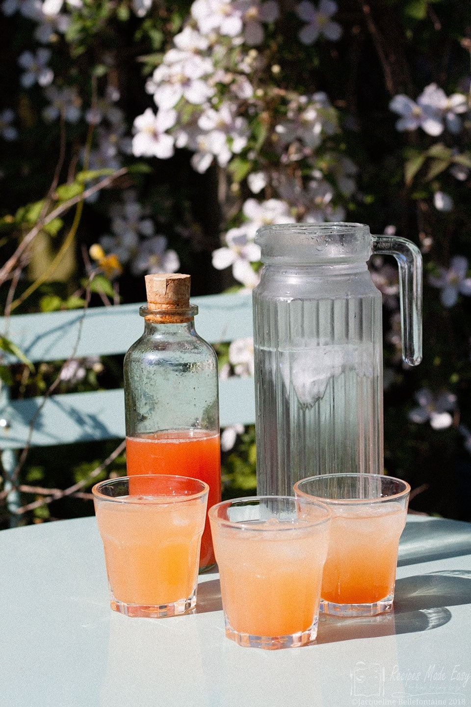 jug of water, bottle of corial and three glasses of rhubarb cordial on a garden table